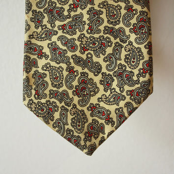 Paisley Yellow Cream Vintage Tie Hardy Amies