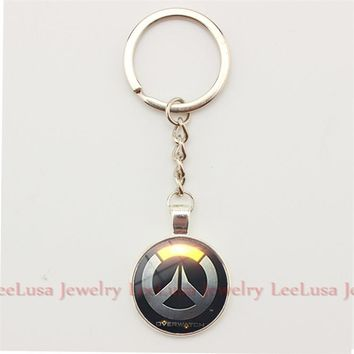 Overwatch Pendant Glass Dome Keychain Key Ring Jewelry Porte Clef for Women and Men