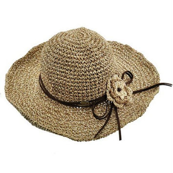 Womens Boho Natural Brown Wide Brim Floppy Hat Crochet Flower Leather Trim Sun Hat
