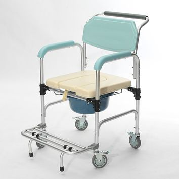3-in-1 Commode Wheelchair Bedside Toilet & Shower Seat Bathroom Rolling Chair Elder Folding Chair