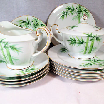 Noritake Green Bamboo 1538G Bright green bamboo on white with gold trim, 1940's pattern and backstamp  14 piece set