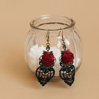 Black Lace Vintage Retro Accessories Dangle Earrings Party Jewelry For Women