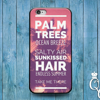 iPhone 4 4s 5 5s 5c 6 6s plus iPod Touch 4th 5th 6th Generation Cool Beach Palm Tree Summer Hair Quote Phone Cover Cute Sunset Pink Fun Case