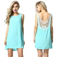 MapleClan Women's Hollowed Lace Back Sleeveless Mint Green A-line Dress