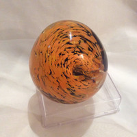 SF Giants Hand Blown Glass Paperweight.  Reclaimed Glass Paperweight in San Francisco Giants Colors.