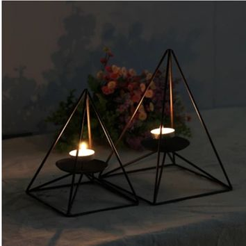 Black Wrought Iron Candle Holder Nordic Contemporary Contracted Romantic Furnishing Article Creative Artistic Home Decoration22