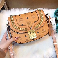 "Hot Sale ""MCM"" Popular Women Shopping Bag Leather Crossbody Satchel Shoulder Bag Handbag Brown I-AGG-CZDL"