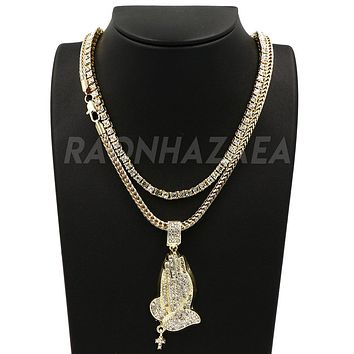 """Hip Hop Iced Out PRAYING HANDS Exclusive Pendant W/ 18"""" Franco Chain & Tennis Choker Chain Set"""