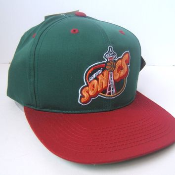 Vintage Seattle Super Sonics Hat Defunct NBA Green Snapback Baseball Cap w/ Tag