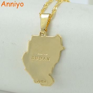 Anniyo Original Old Sudan Map Juba Necklace Pendant Gold Color Jewelry Women,African Jewellery for Men #201706
