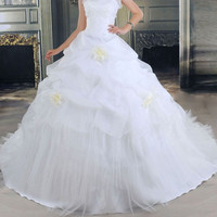Charming Sweetheart Neck Ruffles and Beading Design Women's Flowers Wedding Dress