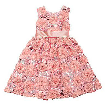 Rare Editions Girls' Peach Sequin Soutache Dress