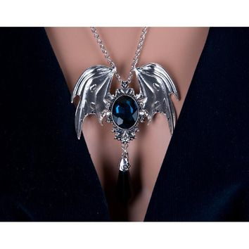 New Arrival Gothic Halloween Necklace Blue And Black Crystal Vampire Vintage Bat Pendant For Men And Women Drop Shipping