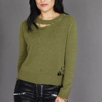 Rip It Up Distressed Studded Knit Sweater