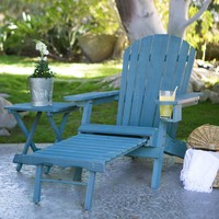 Blue-Stain Wood Adirondack Chair With Pull Out Ottoman & Built In Cup Holder