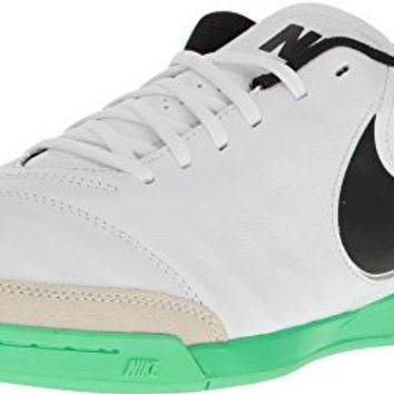 Nike Tiempo Genio II Mens Leather IC Indoor Soccer Shoes White Black Electro Green (10