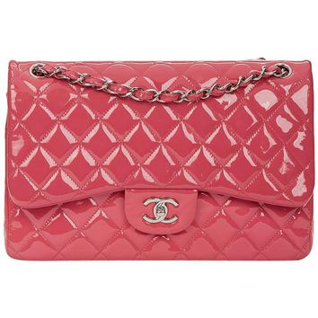 2014 Chanel Pink Quilted Patent Leather Jumbo Classic Double Flap Bag