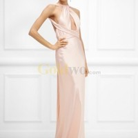 [US$221.56] Julien Classic Straps Low Back Sweep Train Satin Evening Dress