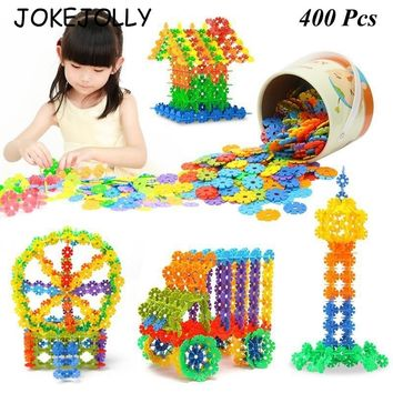 400Pcs/LOT 3D Puzzle Jigsaw Plastic Snowflake Building Building Model Puzzle Educational Intelligence Toys For Kids WYQ