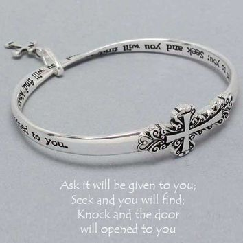 Ask Given Seek Bangle Bracelet Cross Charm SILVER Inspirational Quote Jewelry