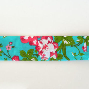 Tropical flower pattern cotton fabric headband, no slip adult women's elastic yoga headband, floral sports workout headband