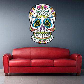 Full Color Wall Decal Mural Sticker Decor Art Beautyfull Cute Sugar Skull Bedroom Curly modern fashion (col602)