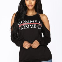 Comme Ci Comme Ca Long Sleeve Top - Black