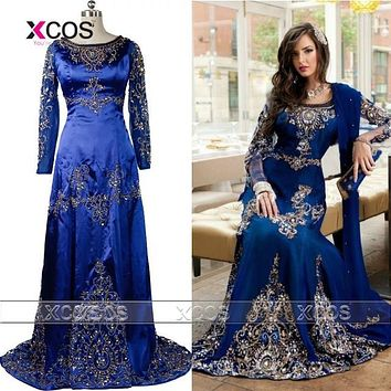 2016 Abaya in Dubai Turkish Gown Lace Moroccan Kaftan Blue Formal Dresses Muslim Evening Dress SA713
