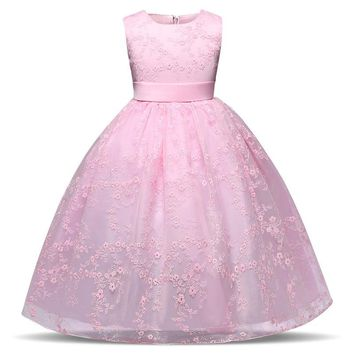 Infant kids costume Birthday Party Full dress kids 2018 summer sleeveless Lace girl Princess for Wedding dress Ball Gowns girls