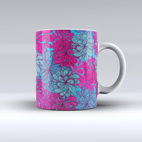 The Vibrant Colorful Floral Sprouts ink-Fuzed Ceramic Coffee Mug