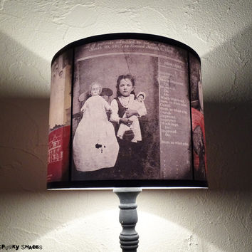Asylum lamp shade - creepy Halloween decor, dark decor, drum lamp shade, dark art, spooky lampshade, victorian asylum