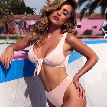 Pfflook New Sexy Camisole Deep V Swimsuit Swimwear Solid Maillot De Bain Femme Two Pieces Summer 6 Color Beach Bikinis 2017