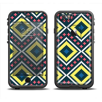 The Gold & Black Vector Plaid Apple iPhone 6 LifeProof Fre Case Skin Set
