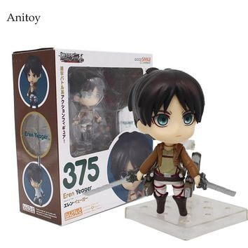 Anime Cute Nendoroid Attack on Titan Eren Jaeger PVC Action Figure Collectible Model Toy