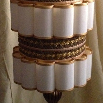 Vintage Fluted Cloth Gold Trimmed Swag Lamp