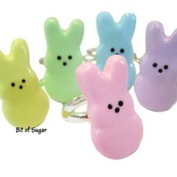 Marshmallow Bunny Ring - Cute Easter jewelry - miniature food jewelry in pink, green, blue, yellow, or purple