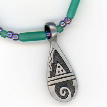 Mountain and Sea Lead Free Pendant on Teal Beaded by Lehane