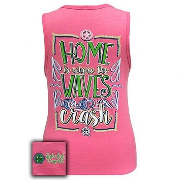 Girlie Girl Southern Home Is Where The Waves Crash Pink Tank Top