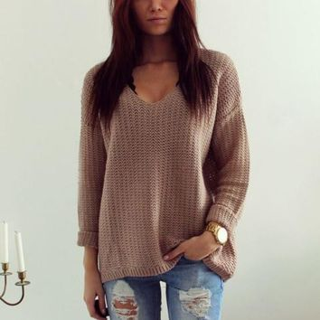 Natural Color Loose Weave Long Sleeve V-Neck Pullover Sweater