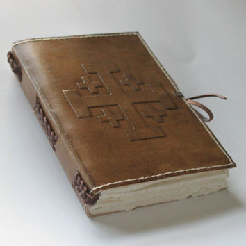 Vintage Embossed Leather Journal Diary /Instagram Photo Album - handmade deckledged paper