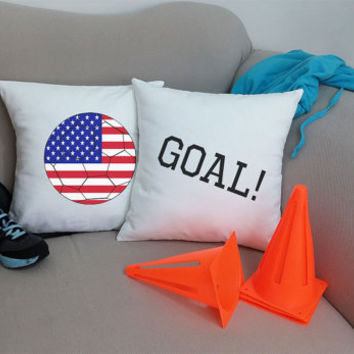 Set of 2 USA Soccer Goal Throw Pillows- Cotton Covers and/or Cushions - 14x14 and 16x16,