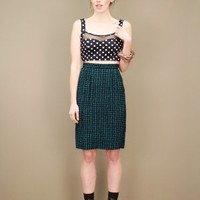 Bustier-style black cropped polka dot tank top with black sheer panel | shopcuffs.com