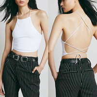 All-Match Sexy Backless Bandage Halter Crop Top Women's Summer Fashion Candy Short Camis Cropped Bustier Top White