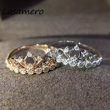LASAMERO Round Cut 0.113CT Crown Certified Ring Accents 18k Gold Natural Diamond Engagement Wedding Ring