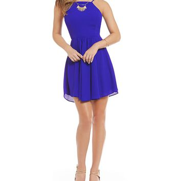 B. Darlin Lace-Up Back Fit-and-Flare Dress | Dillards