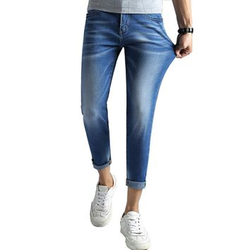 Jeans Stretch Men Skinny Slim Fit Light Blue High Quality Brand Jeans For Man Tapered Cropped Ankle Length Trousers Casual Pants