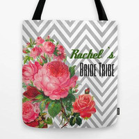 Customized tote bag, Personalized tote, Custom Tote, Bridesmaid set, Bridesmaid tote, Custom Gift, Flower stripe bag