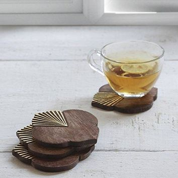 Wood Coasters  Bar Drink Coaster Tea Coffee Mug Tabletop Barware Set of 4 Hand Carved Gold Foil Designed Kitchen Dining Accessories
