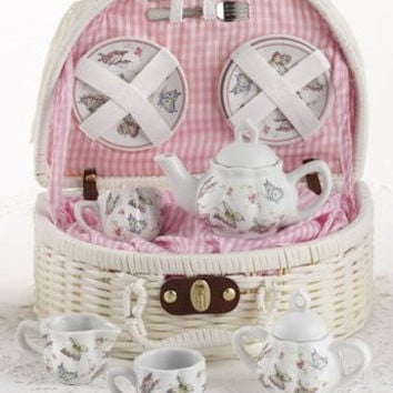 Childrens Porcelain Tea Set in Rounded Wicker Style Basket - Pink Butterfly