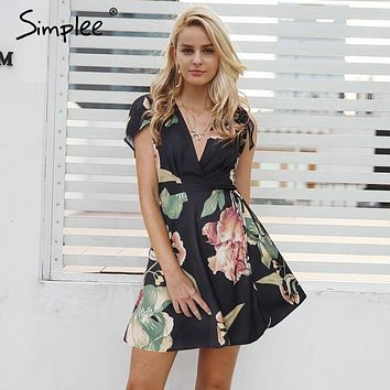 Simplee V neck floral print summer dress Women cap sleeve wrap casual dress female 2018 Streetwear sash boho dress vestidos